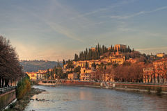 Beautiful view of Verona in late evening. Beautiful view of Verona in late evening on sunset Royalty Free Stock Images
