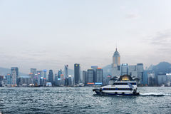 Beautiful view of Victoria harbor in Hong Kong Stock Photo