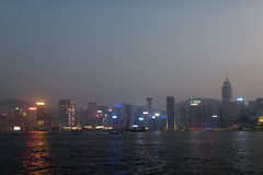 Beautiful view of Victoria harbor in Hong Kong Stock Photography