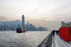 Beautiful view of Victoria harbor in Hong Kong Royalty Free Stock Photo