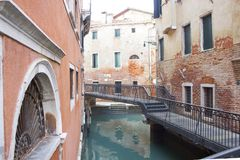 Beautiful view of Venice canal in winter stock photography