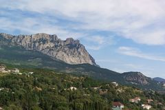 Beautiful view of the village of Alupka and the Trident of the top of mount AI-Petri. Yalta, Crimea. Russia stock photos
