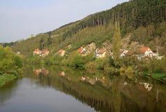 Beautiful view of the village Karlstejn and Berounka river, Czech Republic Royalty Free Stock Photography