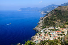 Beautiful View on Village of Riomaggiore Stock Images