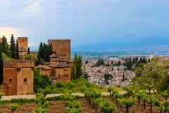 Beautiful view of a vineyard and the city of Granada, Spain. Beautiful view / perspective of city of Granada Spain with an ancient muslim / arab / moorish stock image