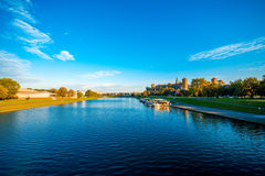 Beautiful view on Vistula river near Wawel castle Stock Images
