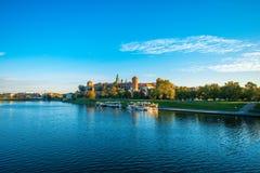 Beautiful view on Vistula river near Wawel castle Royalty Free Stock Images