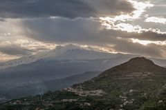 Volcano Etna at sunset, from Taormina, Sicily, Italy stock images