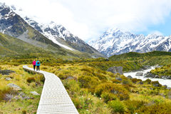 Beautiful view during walk to glacier in Mount Cook National Park royalty free stock images