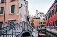 Beautiful view of water street and old buildings in Venice Royalty Free Stock Images