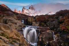 Beautiful view with waterfall and Fitz Roy mountain. Patagonia, Argentina. Stock Images