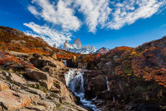 Beautiful view with waterfall and Fitz Roy mountain. Patagonia, Argentina Stock Image