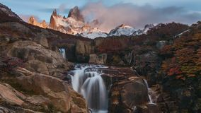 Beautiful view with waterfall and Fitz Roy mountain. Patagonia stock footage