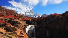 Beautiful view with waterfall and Fitz Roy mountain. Patagonia stock video footage