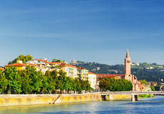 Beautiful view of waterfront of the Adige River in Verona, Italy Royalty Free Stock Photography