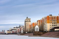 Residential complex in Astana. Beautiful view of the waterfront with a residential complex in Astana Stock Photo