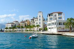 Beautiful view of waterfront of resort town of Tivat, Montenegro Stock Photos