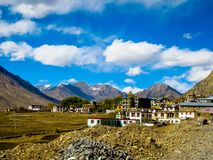 BEAUTIFUL VIEW OF THE WAY TO KEE GOMPA. Beautiful landscape of the Himalayan mountains . The way to Kee Gompa, the beautiful monastery for the Buddhists Royalty Free Stock Photography