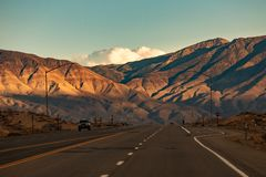 Beautiful view On the way to Mammoth Lakes Hwy 395, California stock photography