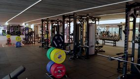Beautiful view of well equipped fitness center.  Healthy lifestyle concept. Enkoping. Sweden stock video
