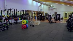 Beautiful view of well equipped fitness center.  Healthy lifestyle concept. Beautiful view of well equipped fitness center. Healthy lifestyle concept. Enkoping stock video footage
