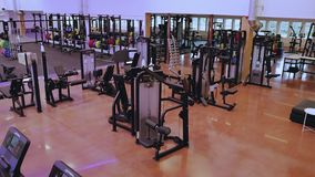 Beautiful view of well equipped fitness center.  Healthy lifestyle concept. Enkoping. Sweden stock video footage