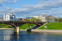 Beautiful view of Western Dvina River, Holy Dormition Cathedral, Vitebsk, Belarus Royalty Free Stock Images
