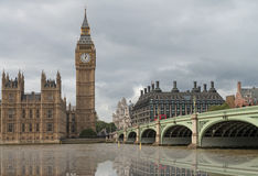 Beautiful view of Westminster Palace and Bridge with reflection Royalty Free Stock Images