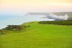 Beautiful white chalk cliffs of the Seven Sisters at Birling Gap coastline, Eastbourne, East Sussex, UK Stock Image