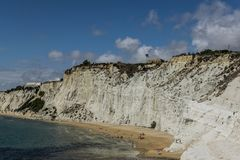 Beautiful view of white, limestone, marl rock at the coast. royalty free stock photos