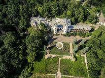 Beautiful view on White Swan palace and yard in Sharivka park, Kharkiv region Stock Photography