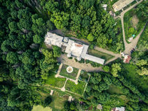 Beautiful view on White Swan palace and yard in Sharivka park, Kharkiv region Stock Image