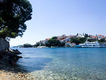 A beautiful view of the wide ocean from Skiathos stock photos
