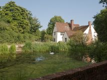Beautiful view of Willy Lott`s House Cottage at flatford mill su Stock Image