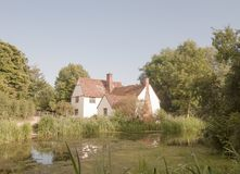 Beautiful view of Willy Lott`s House Cottage at flatford mill su Stock Images