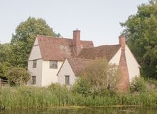 Beautiful view of Willy Lott`s House Cottage at flatford mill su Royalty Free Stock Photo