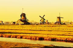 Beautiful view of the windmills in Zaanse Schans, Holland royalty free stock photos