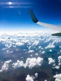 Beautiful view from window of airplane royalty free stock photo