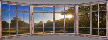 Beautiful view from window to nature picturesquely royalty free stock photography