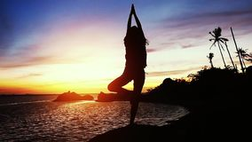 Beautiful view of woman doing yoga. A girl takes a pose, while training on a sunset background. slow motion. 1920x1080. Beautiful view of woman doing yoga stock video