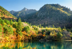 Beautiful view of wooded mountains and the Five Flower Lake Stock Photos