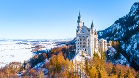 Beautiful view of world-famous Neuschwanstein Castle, the nineteenth-century Romanesque Revival palace built for King Ludwig II on. A rugged cliff near Fussen stock image