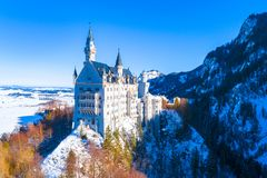 Beautiful view of world-famous Neuschwanstein Castle, the nineteenth-century Romanesque Revival palace built for King Ludwig II on. A rugged cliff near Fussen stock photography