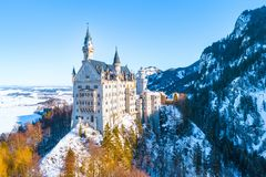 Beautiful view of world-famous Neuschwanstein Castle, the nineteenth-century Romanesque Revival palace built for King Ludwig II on. A rugged cliff near Fussen royalty free stock photography