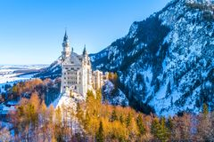 Beautiful view of world-famous Neuschwanstein Castle, the nineteenth-century Romanesque Revival palace built for King Ludwig II on. A rugged cliff near Fussen royalty free stock photo