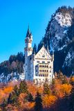 Beautiful view of world-famous Neuschwanstein Castle, the nineteenth-century Romanesque Revival palace built for King Ludwig II on. A rugged cliff near Fussen royalty free stock image