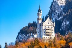 Beautiful view of world-famous Neuschwanstein Castle, the nineteenth-century Romanesque Revival palace built for King Ludwig II on. A rugged cliff near Fussen stock photos