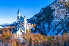 Beautiful view of world-famous Neuschwanstein Castle, the nineteenth-century Romanesque Revival palace built for King Ludwig II on. A rugged cliff near Fussen royalty free stock photos