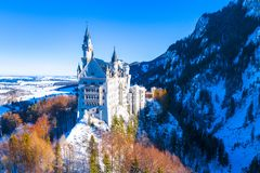 Beautiful view of world-famous Neuschwanstein Castle, the nineteenth-century Romanesque Revival palace built for King Ludwig II on stock image