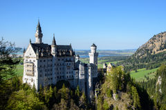 Beautiful view of world-famous Neuschwanstein Castle, the 19th century Romanesque Revival palace built for King Ludwig. II, in beautiful evening light at sunset stock image